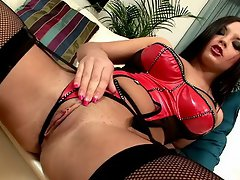 Brunette Russian lover in fishnets and sexy lingerie Violetta...