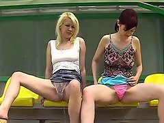 Gals peeing in the thongs at the stadium...