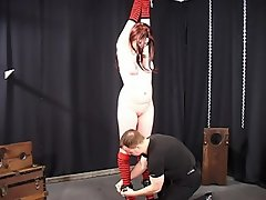 Gorgeous slutty whore Monika loves to get tied up and have clamps on...