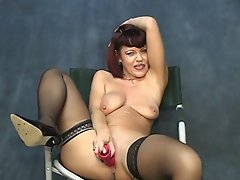 Have a jolly good time along with this attractive brunette bimbo as...