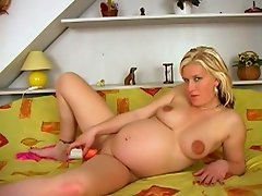 This expecting mom to be blonde doll still needs to pamper her horny...