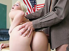 Blonde pigtailed girl rides her teachers dick...