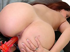 Horny Laitin girl fucking her tight pussy with a dildo...
