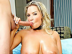 Naturally busty blond babe Rachel Love kicks off this scene with an...