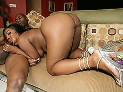 Sitting with her man in just a white thong Deja Vu certainly has a...