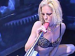 Petite blond rocker babe Leena Styles makes herself cum again and...