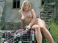 Voluptuous, all natural blond Patricia kicks off this scene walking...