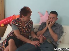 Cock hungry mom jumps on her son in law