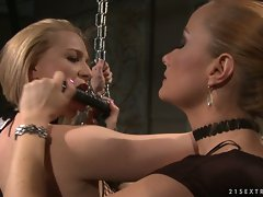 Katy Borman forced to suck a sex toy while being tied