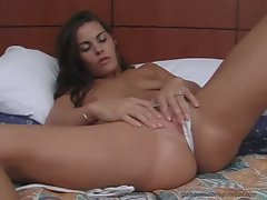 Heather Silk fingering her cunt in white panty