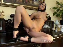 Eve Angel feeling the moisture between her sexy legs
