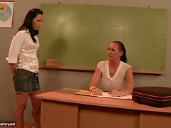 Mandy Bright slutty teacher talking with hot student