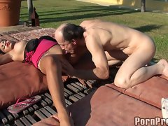 Janine Valentine horny babe alm hard an old cock
