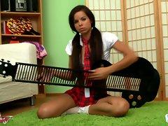 Jessica Koks sxy babe playing and instrument