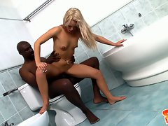 Sabrina Blond getting a hard shit-fuck in the toilet