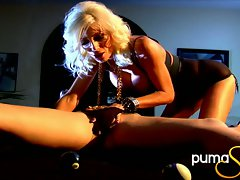Jayden James and Puma Swede fingering on billiard table