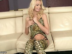 Erica Fontes in lusty leopard lingerie and stockings