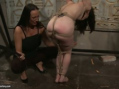 Mandy Bright slap hard a tied naked babe