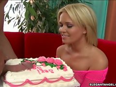 Sasha Knox happy to get a birthday cock cake