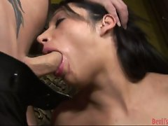 Lovely brunette Vannah Sterling munches a massive cock with pleasure