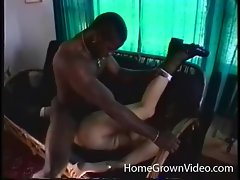 Black cock drills curly haired white chick