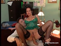 Hot fox in beautiful lingerie office sex