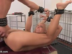 Face and ass fucked blonde in a collar and leash