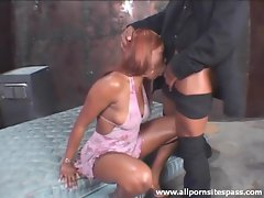 Ebony sex vixen getting her pretty face fucked brutally
