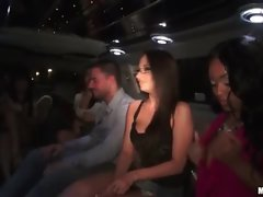 Party babes mingling in a hot limo