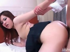 Bubble butt Asian hottie getting fucked with her skirt on