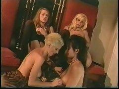 Four retro lesbian chicks in lingerie tease