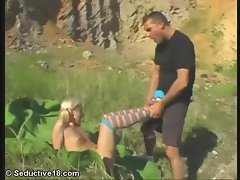 Pigtailed blonde with cute socks fucking outdoors