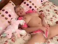 Horny blonde teen with huge tits rubbing her pussy