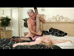 Lustful blonde mature enjoys fucking older gentleman
