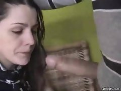 Brunette vixen milking cock with her hands and mouth