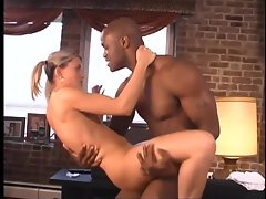 Pigtailed blonde babe enjoys steamy interracial fucking