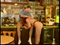 Waitress at the restaurant sucks a cock