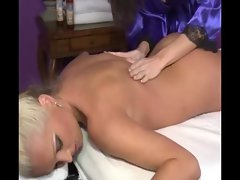 Sexy blonde babe getting titty massage from horny masseuse