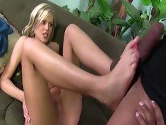 Naughty blonde plays footsie