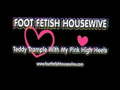 Pink high heels teddy bear crushing