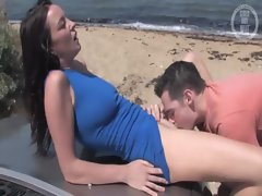 Hot aussie chcik in blue dress gets eaten by her boyfriend
