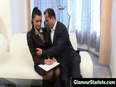 Boss tries to sleep with his secretary in a glamorous manner