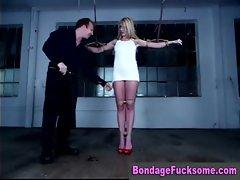 Smiley blonde spanked