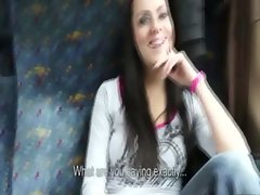 Whore shows her tits for cash on the train to a stranger
