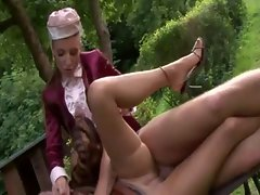 Glam sluts pissfucking in the park
