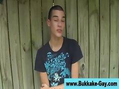 Hungry bukkake boy twink gets a mouthful