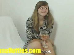 Real czech student plays with dick at CASTING