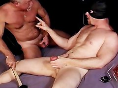 CBT Hunk squeezes his balls as I bash em
