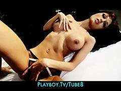 Sexy brunette with a HOT body plays with herself on film