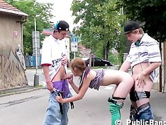 Young very pretty TEEN girl in PUBLIC threesome PART 1